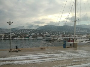 Snow in Kallirachi Thassos, Greece