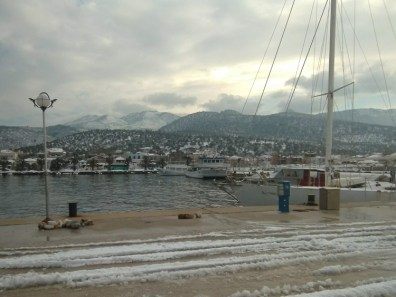 Snow in harbor of Skala Kallirachi, Thassos