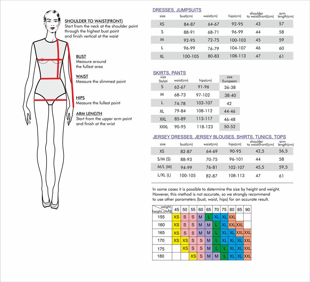 stylati size chart