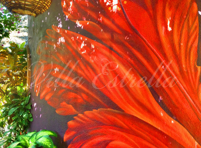 red hibiscus wall mural