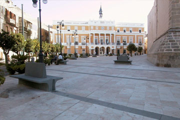 Negro Villar_Benchs and stone works Villar del Rey, España Square, Badajoz(Spain)