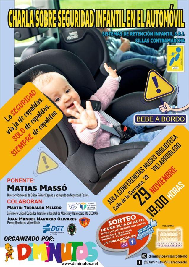 Cartel charla seguridad infantil en el automóvil