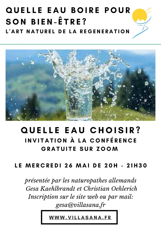 VillaSana conference online 26 mai - quelle eau choisir