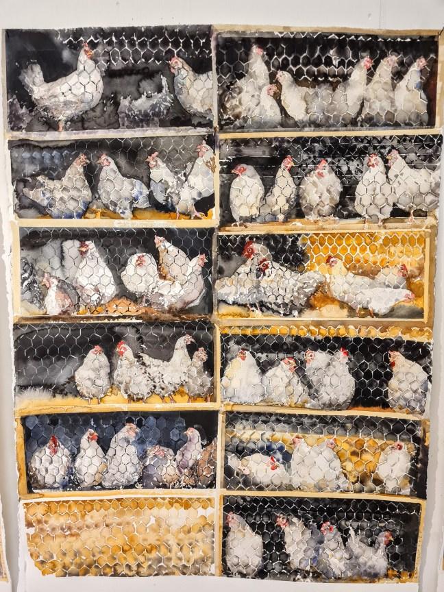 Höns i hönsburar av Lars Lerin.
