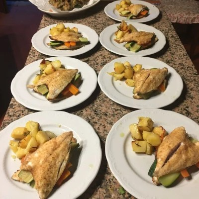 Baked bream fillet with vegetables