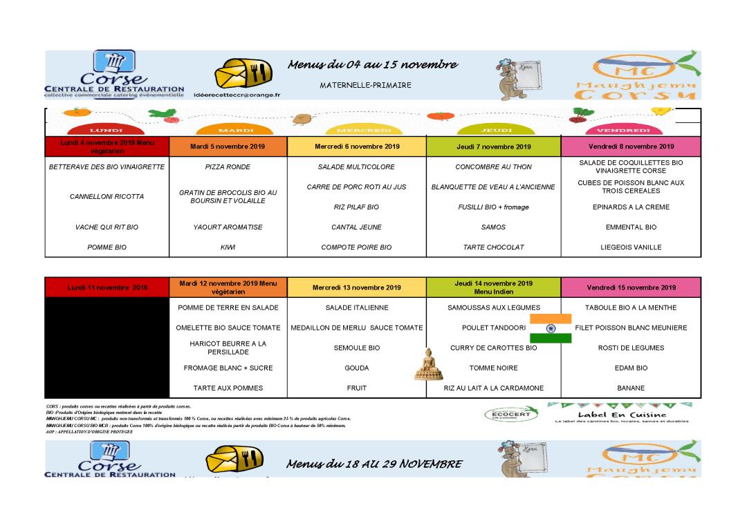 Menus, cantine scolaire, du 04/11 au 15/11/2019