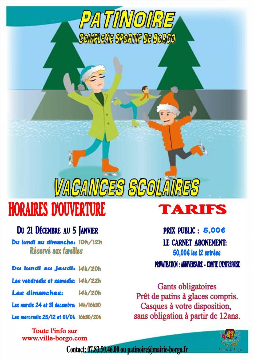 Marché de Noël 2019, Infos patinoire, Ville de Borgo