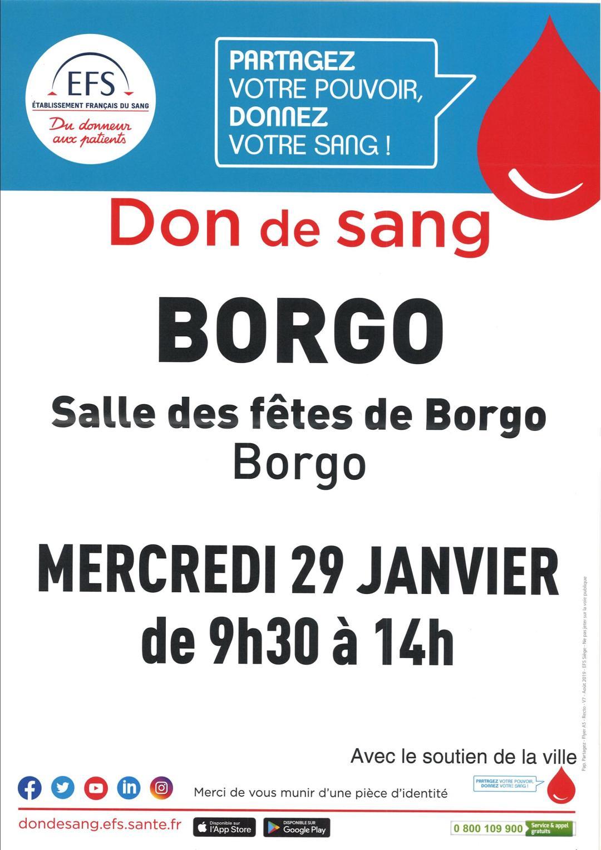 Donner votre sang à la salle des fêtes de 09h00 à 14h30, le 29 janvier 2020