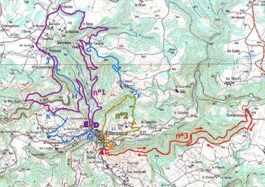 Villecomtal Circuits de randonnée violet, jaune, rouge