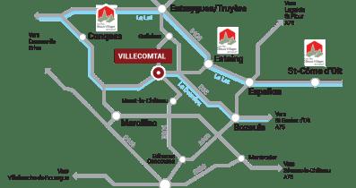 Carte d'accès à Villecomtal