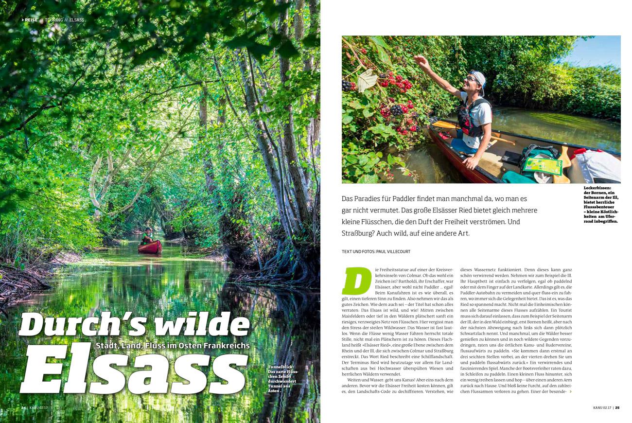 """Reportage """"Alsace"""" dans Kanu Magazin (Allemagne)."""