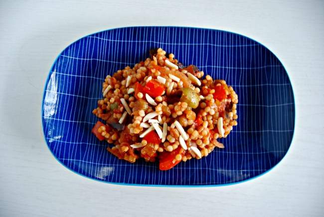 Caponata with pearl couscous and almonds