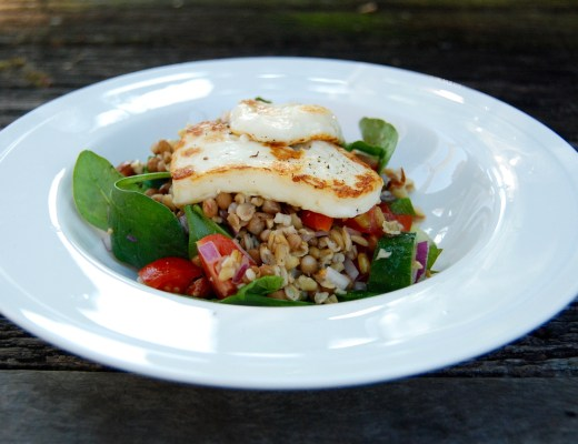 halloumi, lentil and freekeh salad