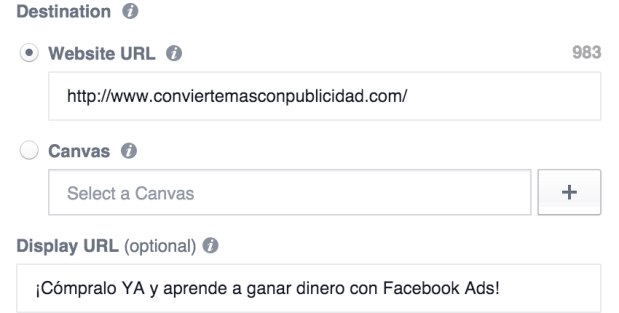 enlace destino aununcios facebook ads