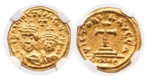 HERACLIUS AND HERACLIUS CONSTANTINE GOLD SOLIDUS - RARE YEAR 1 (AD 628/9) EMISSION FROM CARTHAGE - MINT STATE NGC GRADED BYZANTINE COIN (Inv. 10640)