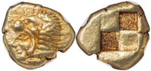 ERYTHRAE ELECTRUM HECTE ( HEKTE ) - HEAD OF HERCULES WITH LION SKIN - CHOICE XF NGC GRADED GREEK IONIA COIN (Inv. 12587)