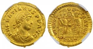 GRATIAN GOLD SOLIDUS - AD 373-375 EMISSION FROM TRIER - CHOICE AU NGC GRADED ROMAN IMPERIAL COIN (Inv. 9714)