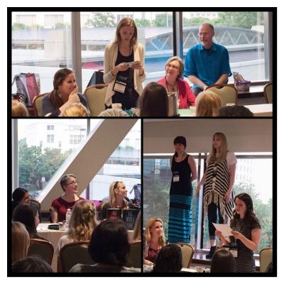 "Clockwise from top left: Victoria Scott, Susan Dennard, Rachel Hawthorne, Bree Despain, Kasie West, Sara Raasch, Lindsay Cummings, Justine Larbalestier, and Sona Charaipotra at ""Humble Beginnings"" Panel."