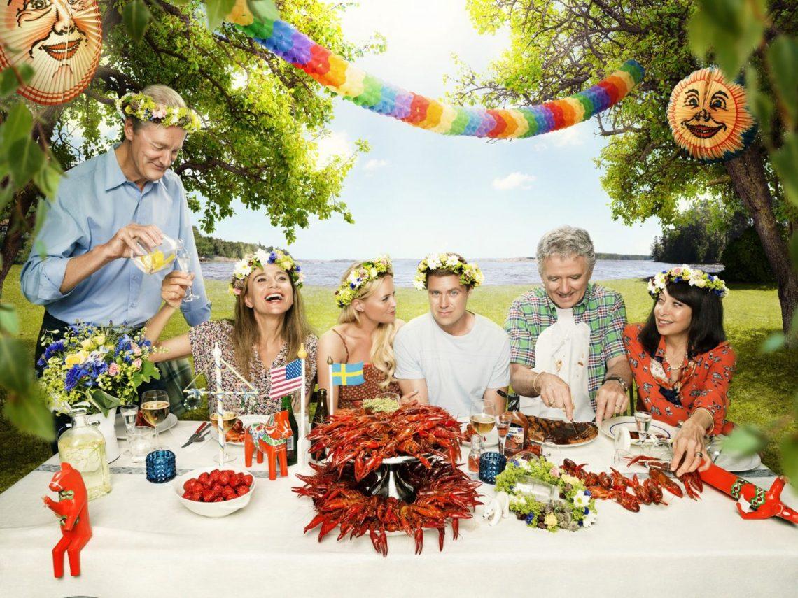 bild på ensemblen från tv-serien welcome to sweden - omvänd kulturkrock att komma hem till sverige från japan