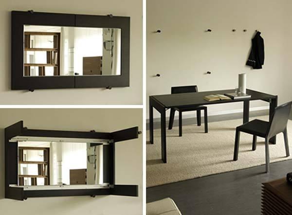 Un espejo que se puede convertir en mesa de comedor