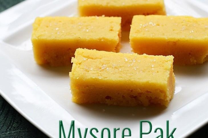 Mysore pak recipe, soft and moist mysore park recipe, easy diwali sweets recipe, mysore pak stove top method