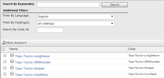 Search by code/id uses SQL internally, so you have to input the keyword exactly
