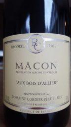 Etiquette de Mâcon Bois d'Allier - Domaine Cordier Pouilly Fuissé