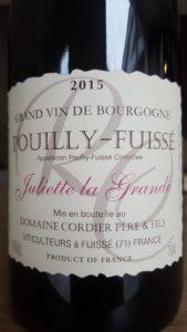 Etiquette de Pouilly Fuissé Juliette la Grande Domaine Cordier