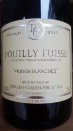 Etiquette de Pouilly Fuissé Vignes Blanches Domaine Cordier
