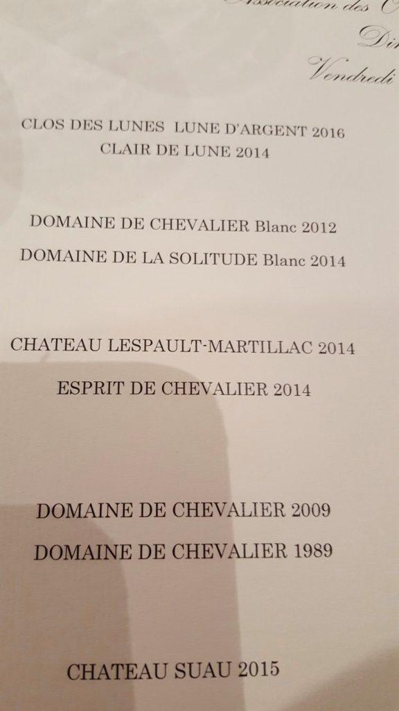 Dîner dégustation au domaine de Chevalier - La liste des vins