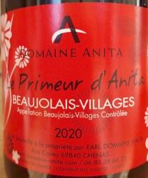 Beaujolais nouveau du domaine Anita
