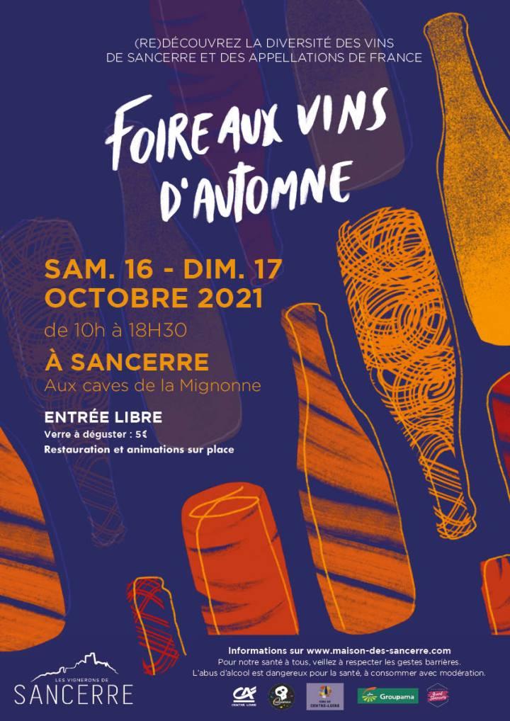 L'année 2021 marquera une nouvelle fois la réunion des deux événements historiques organisés par le Comité de Promotion des Vins de Sancerre (la Foire aux Vins de Sancerre et la Foire aux Vins de France).  La Foire aux Vins d'Automne se tiendra aux caves de la Mignonne le samedi 16 et le dimanche 17 octobre 2021.