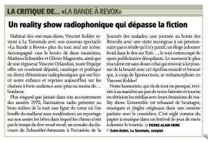 Critique de la Bande à Révox dans le journal l'Express/Impartial du 18 mai 2017