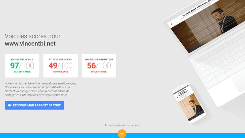 Outil de test de la vitesse des sites Web mobiles @Google