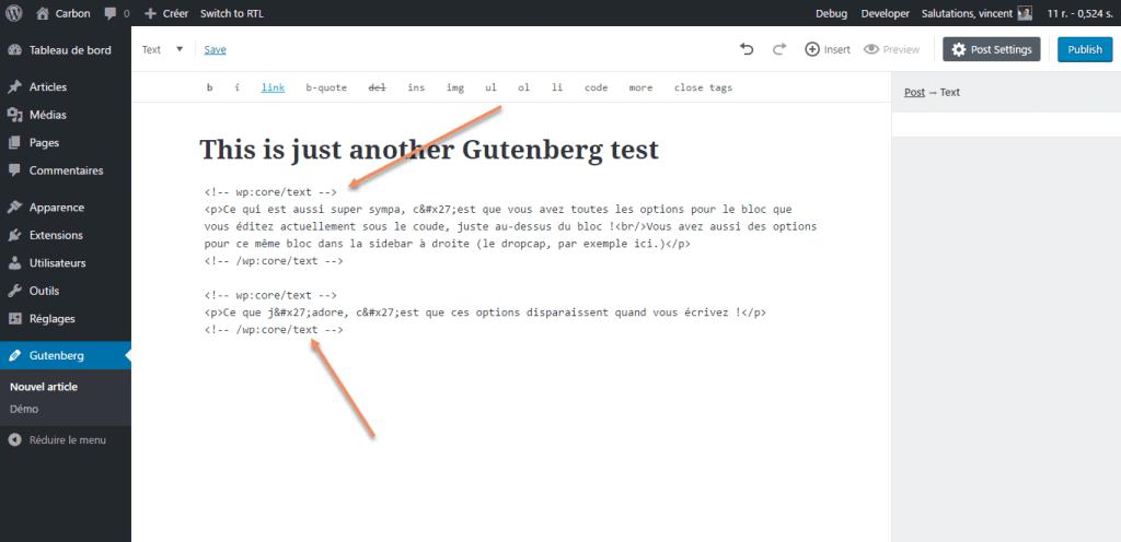 Gutenberg insère des commentaires HTML dans la vue texte