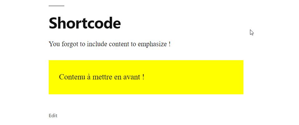 Code court balise affichant une boite texte jaune.