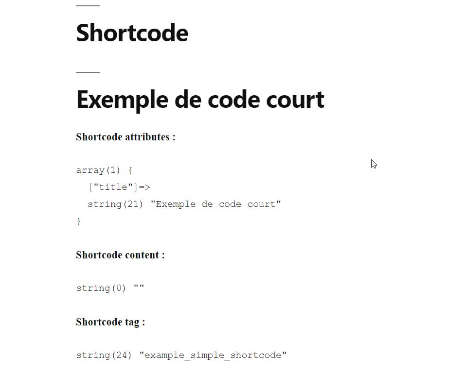Le code court affiche bien notre titre.
