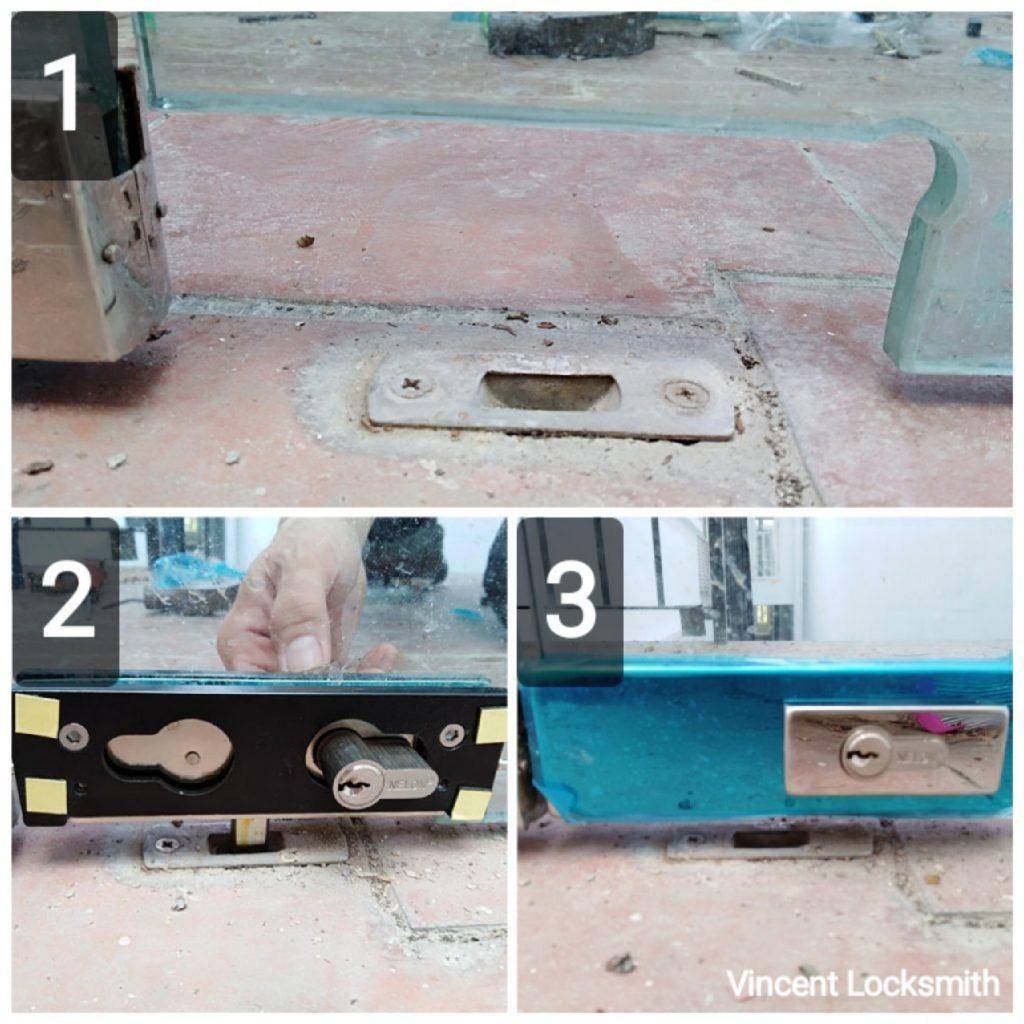 Installation of glass door lock