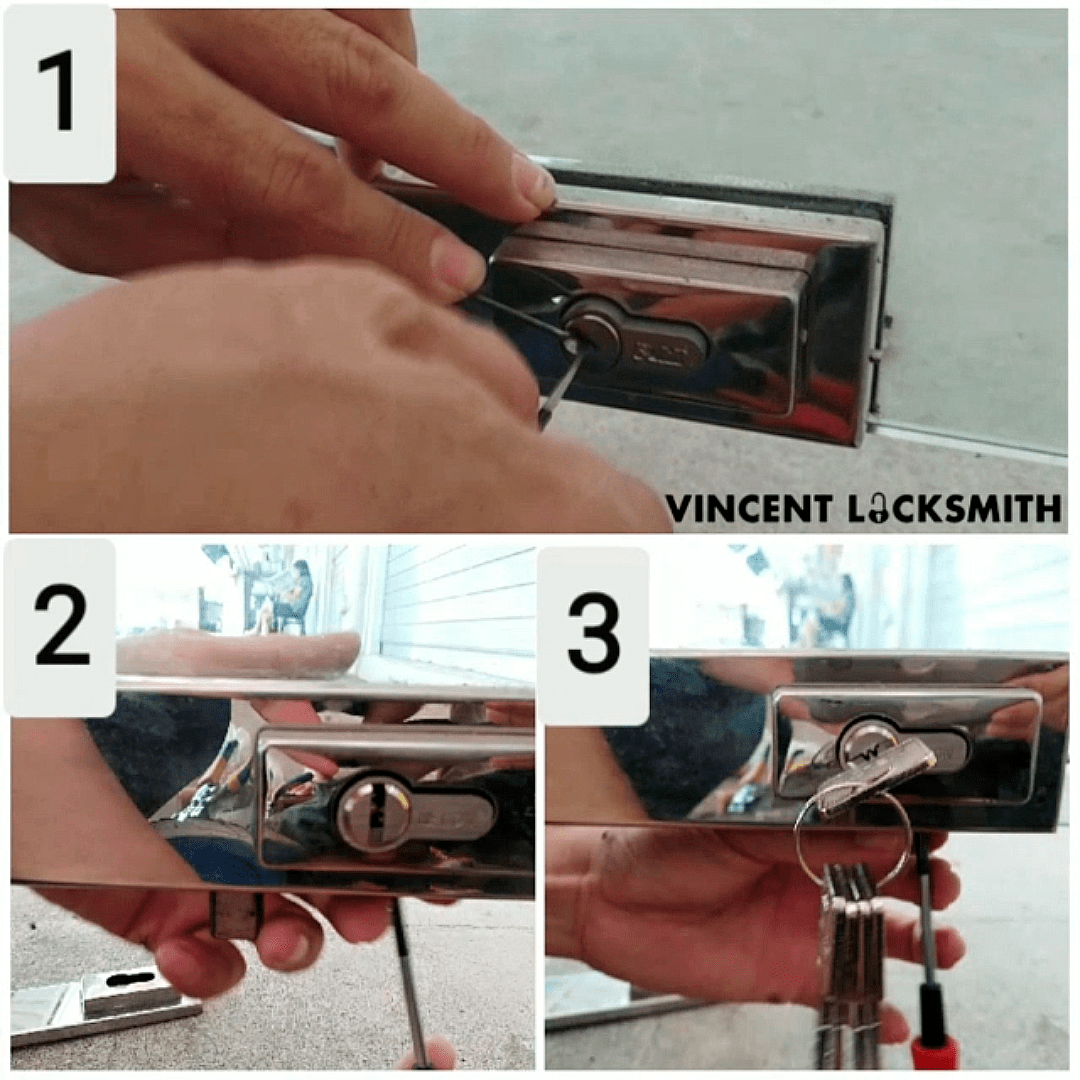 Unlocking and changing a glass door lock