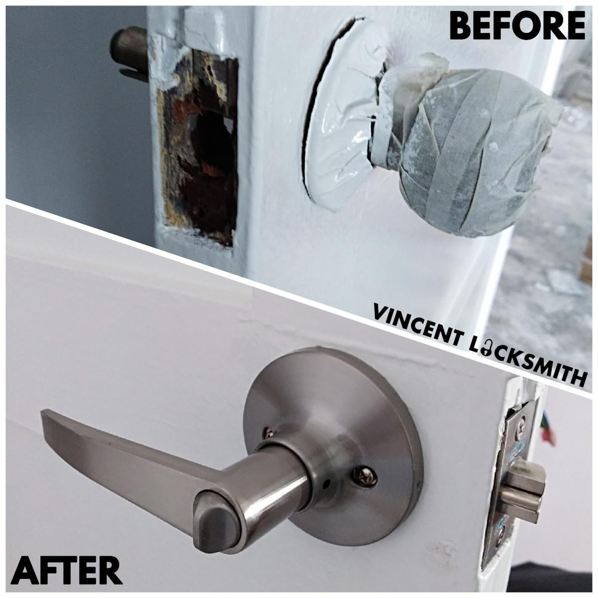 Replacing doorknob with lever handle lock