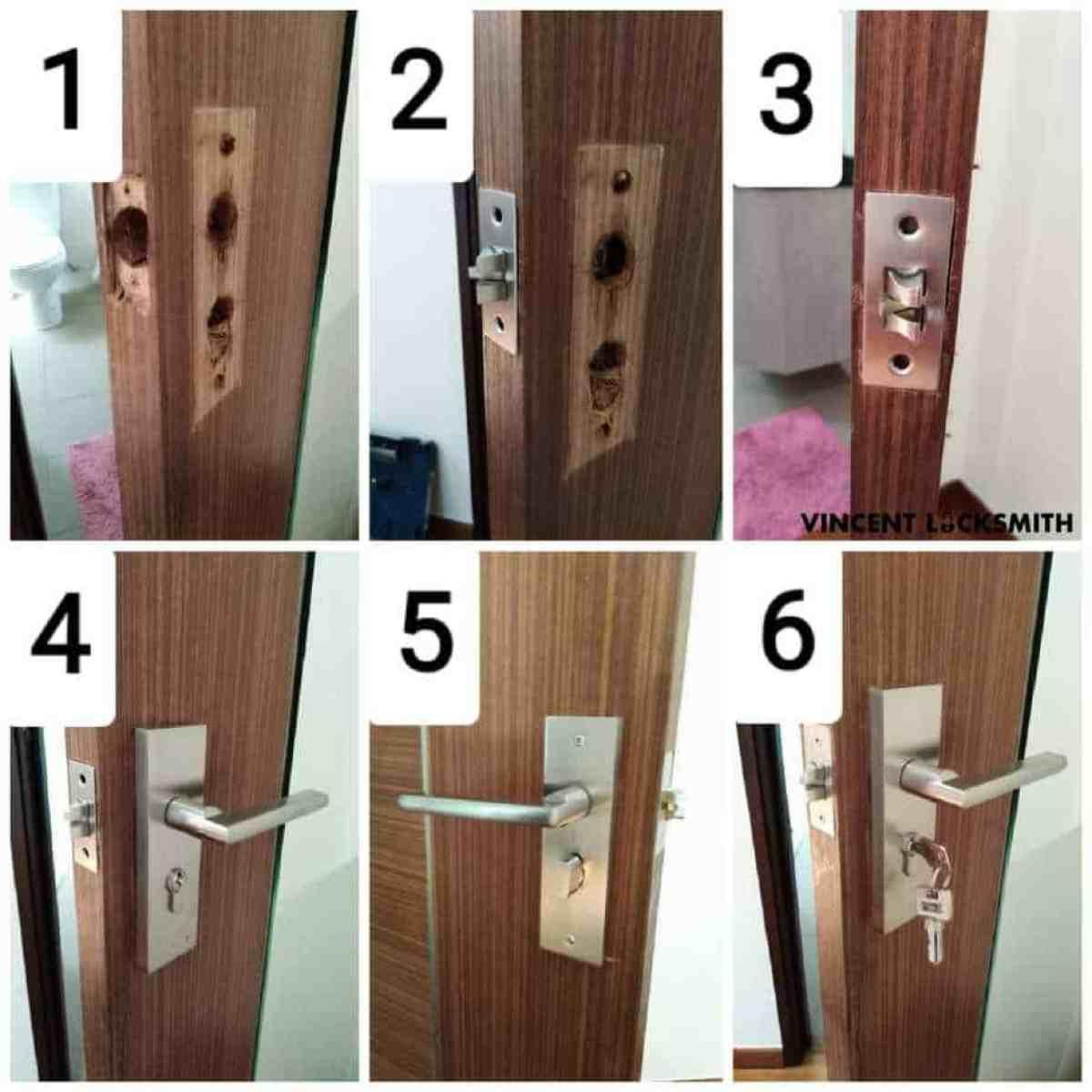 Replacement of toilet door lock