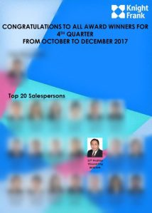 2017 4th Quarter Oct to Dec Knight Frank Top 20 Salespersons Vincent Ong 6598531741