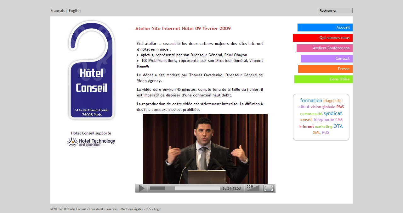 Screen Image of the Website of Hotel Conseil - Vincent Ramelli speech link