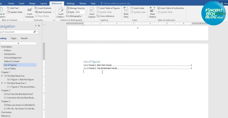 How To Automate List of Figures in Office 2016 - Vincent
