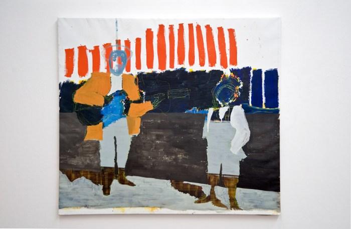schilderij waarop twee mensfiguren te zien zijn waarvan de linker een gitaar vasthoudt