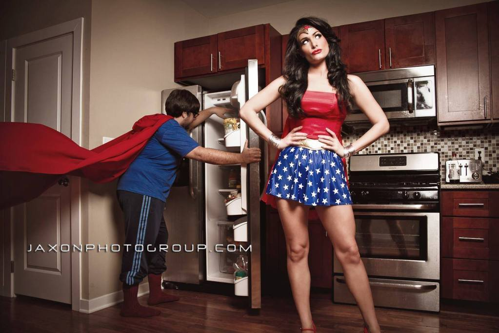 Wonder Woman in the Kitchen with Super Man