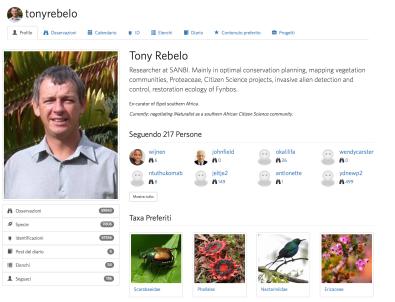 iNaturalist - profilo utente