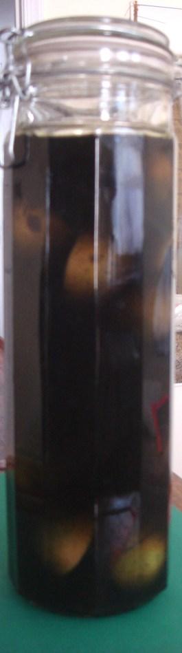 American black walnuts in vodka, Autumn 2014-1