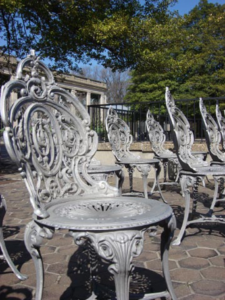 Longwood chairs awaiting summer 2
