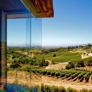 The modern Beau Constantia tasting room with breathtaking views